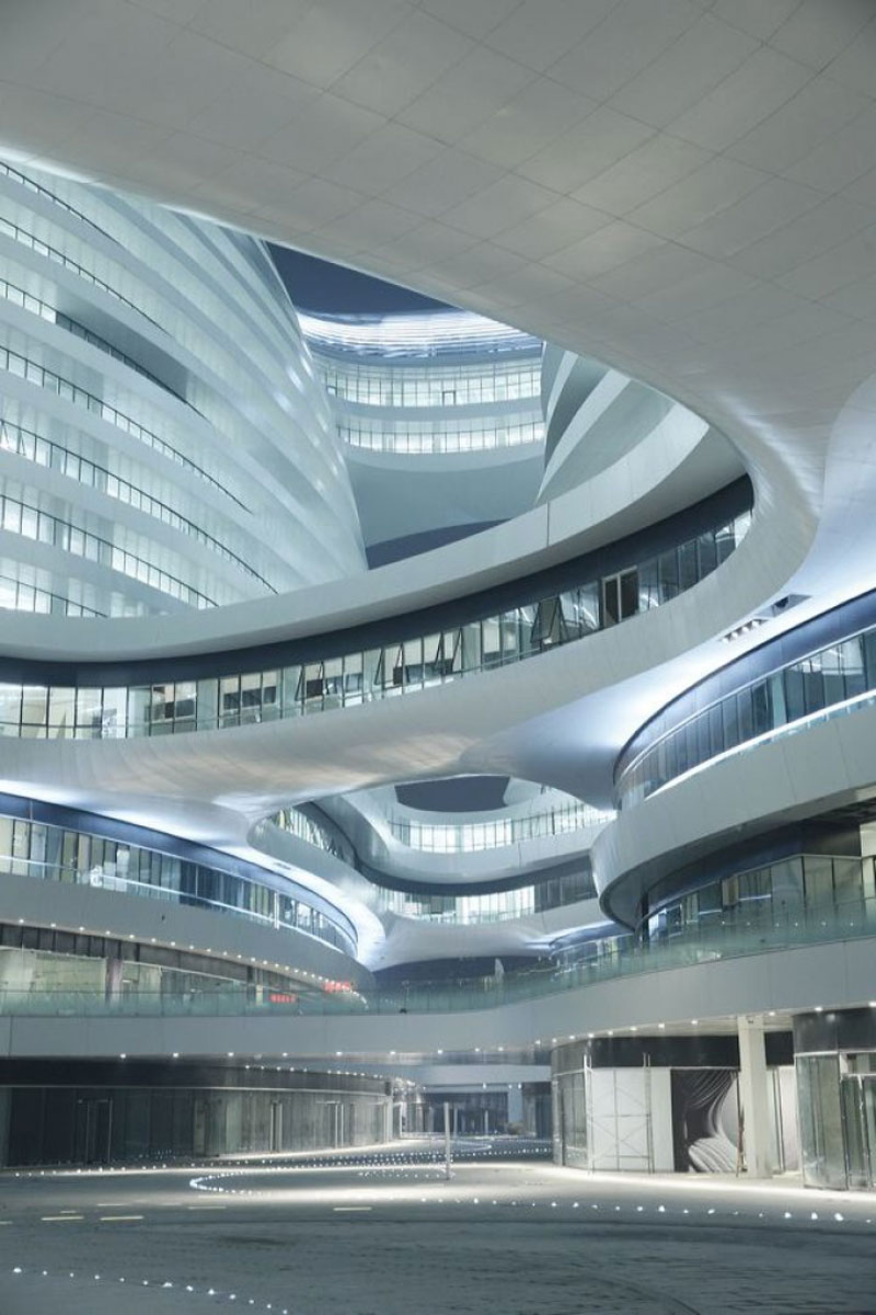 Lines and shapes of the exterior architecture at the Galaxy SOHO Complex in Beijing designed by Zaha Hadid