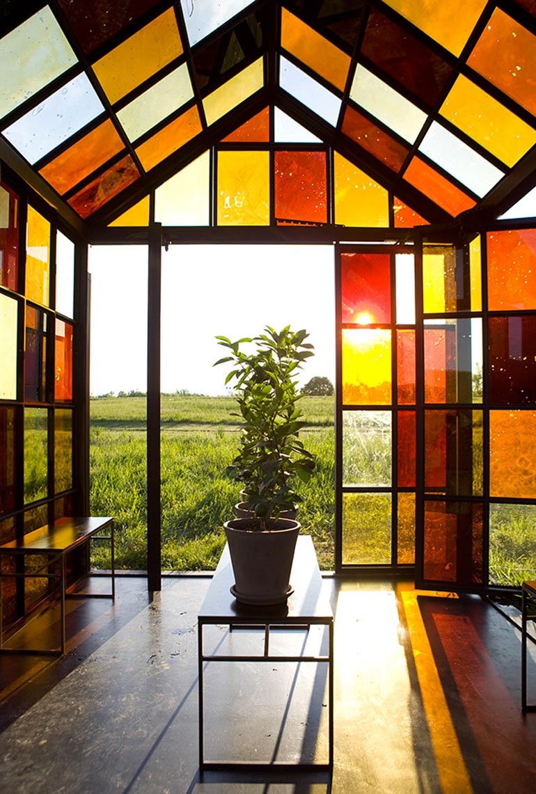 Interior view of the Glass House Solarium by William Lamson