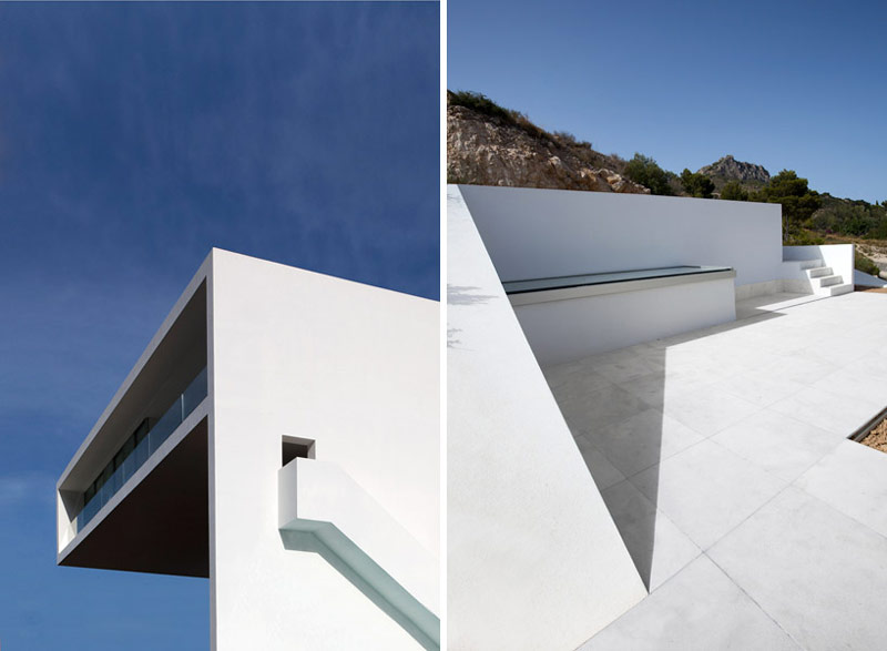 2 images of the architecture at the House on the Cliff by Fran Silvestre Arquitectos