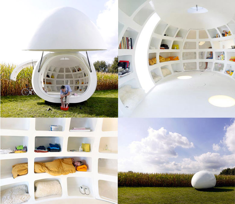 Collage of 4 images of the blob VB3 Mobile Living Pod by dmvA Architects
