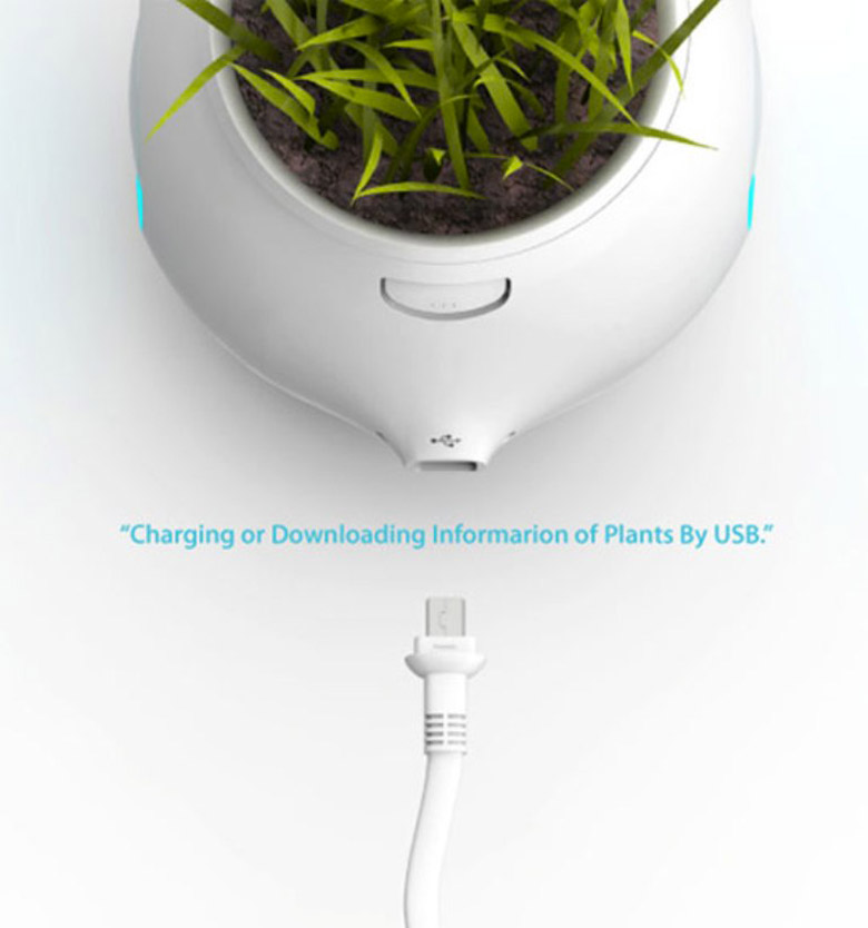 USB connection on the Pet Plant Digital Pot by Junyi Heo