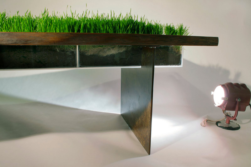Side view of the Planter Walnut Table by Emily Wettstein