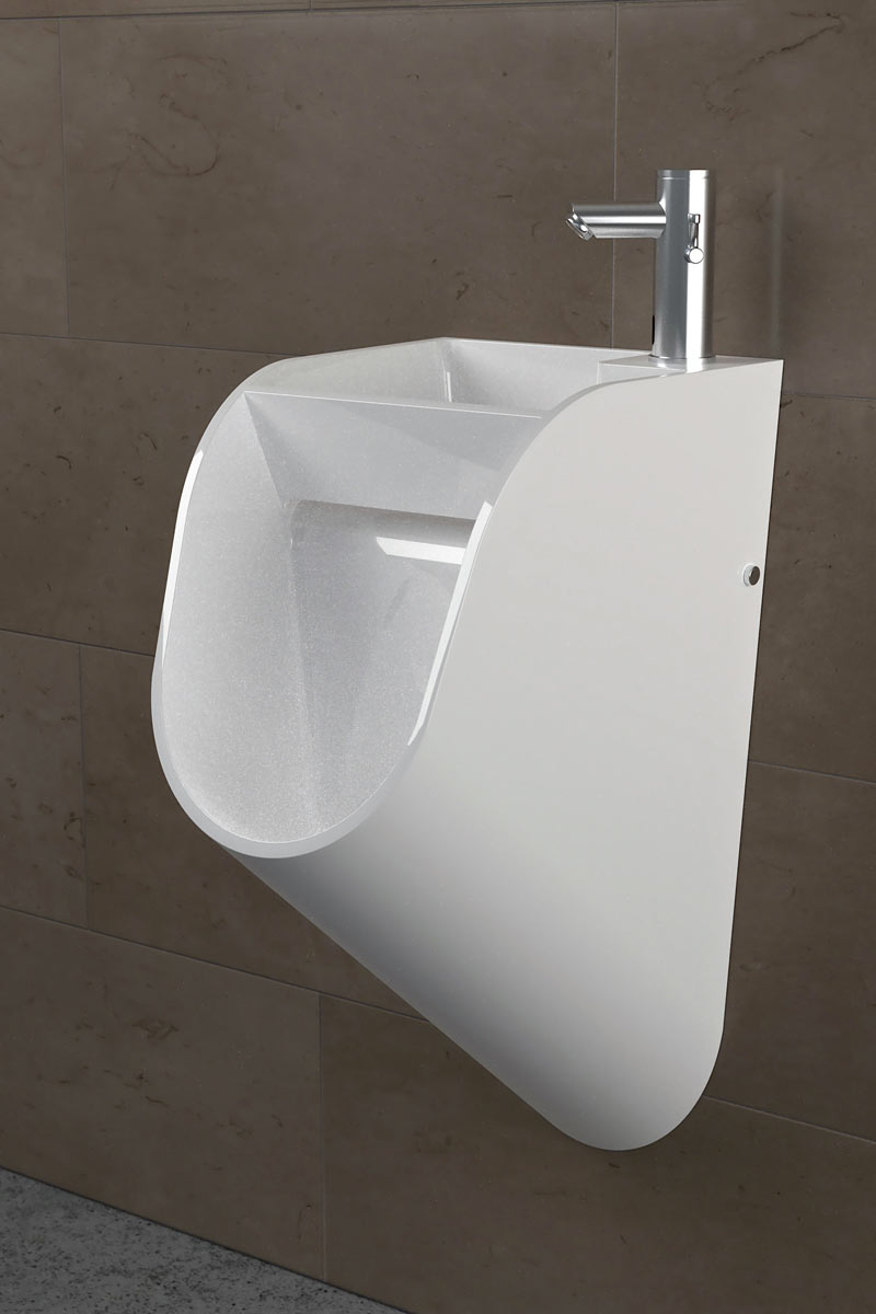 Front side view of a white sink urinal by TANDEM in a men's restroom