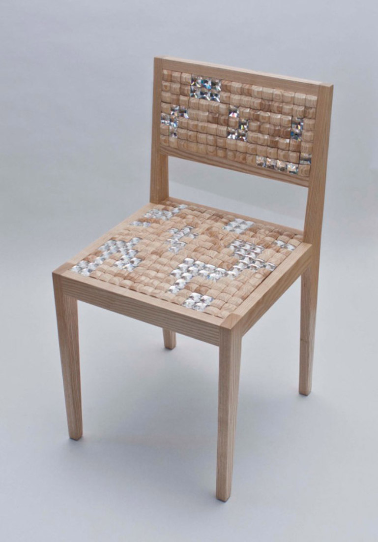 Wooden tiles on the Squishy Chair by New Colony Furniture