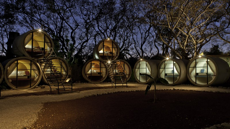 Exterior view of many rooms at the Tubo Hotel in Tepoztlan Mexico T3arc