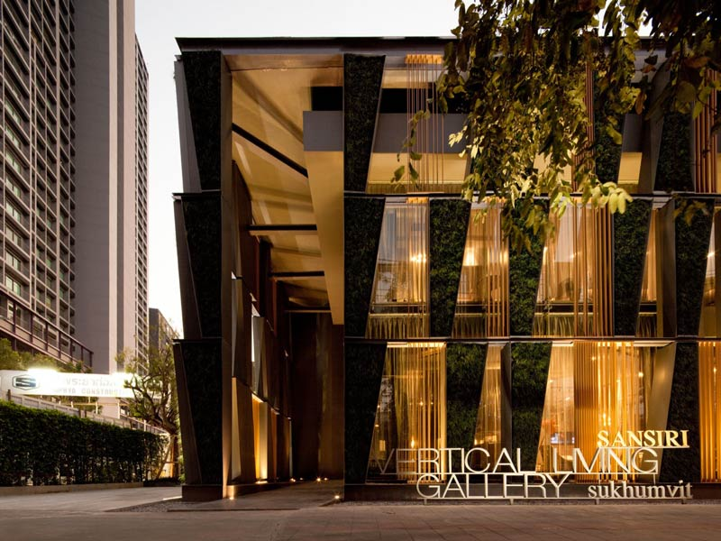 Exterior view of the architecture at the Vertical Living Gallery by Sansiri and Shma in Bangkok