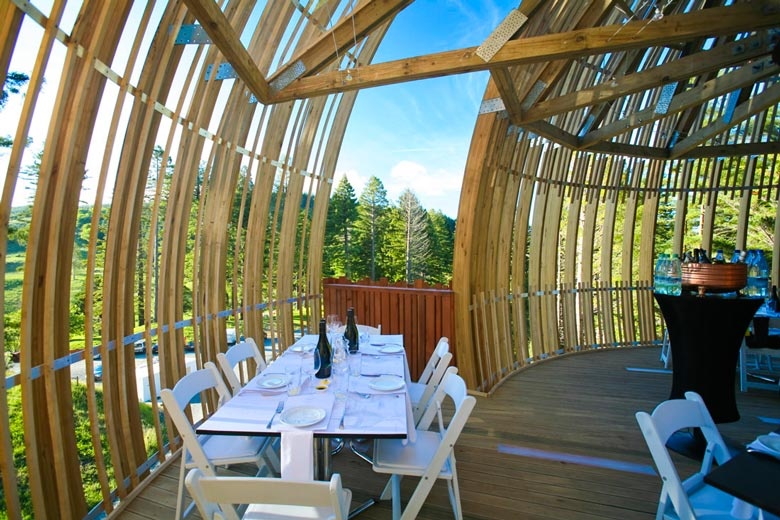 Yellow treehouse restaurant in new zealand pacific