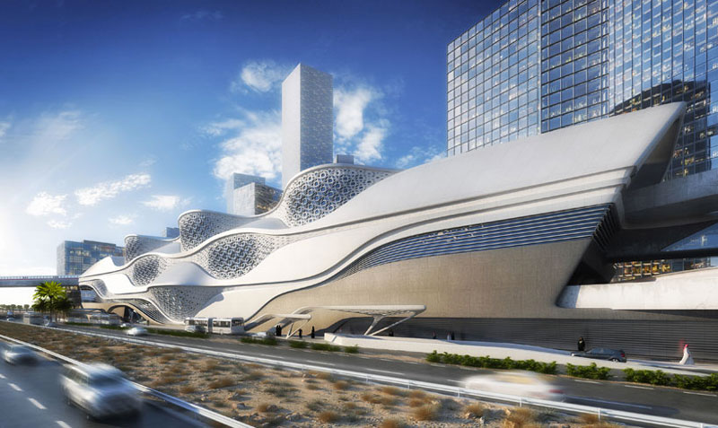 Exterior view of the architecture at the King Abdullah Financial District metro station in Riyadh designed by Zaha Hadid Architects