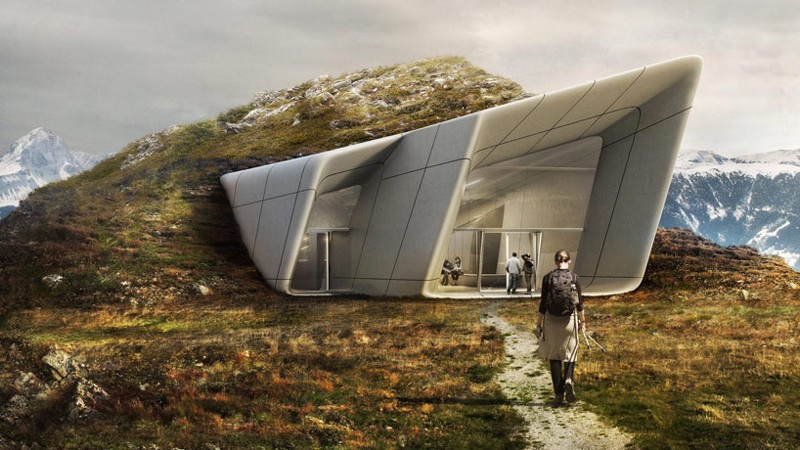 Entrance of the Messner Mountain Museum designed by Zaha Hadid at Plan de Corona