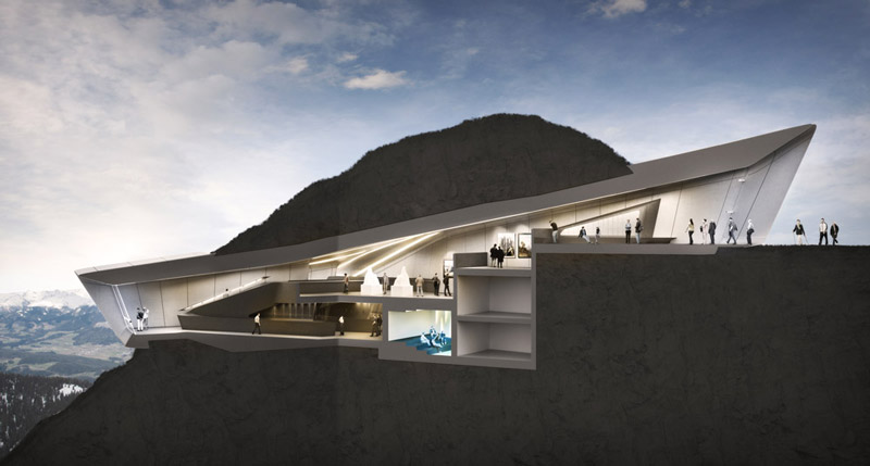Structural plan of the interior of the Messner Mountain Museum designed by Zaha Hadid at Plan de Corona