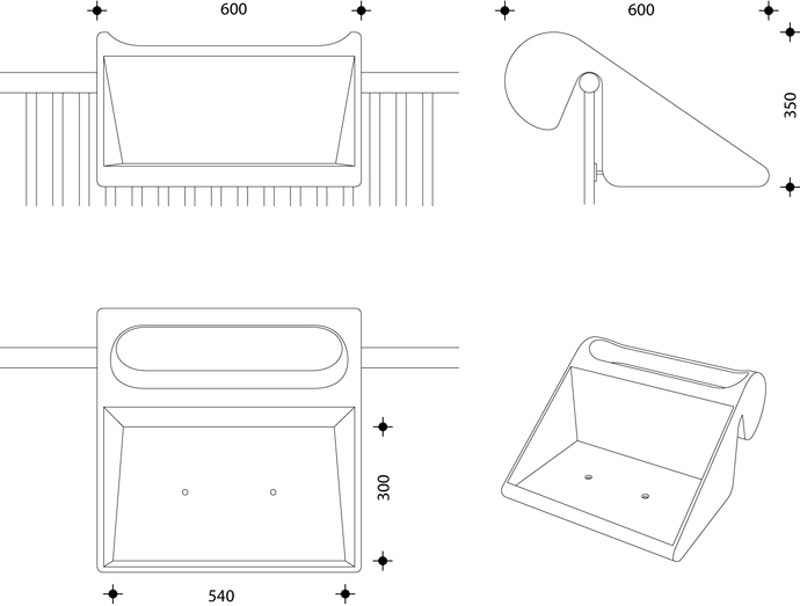 balKonzept Balcony Desk dimensions and drawing plans