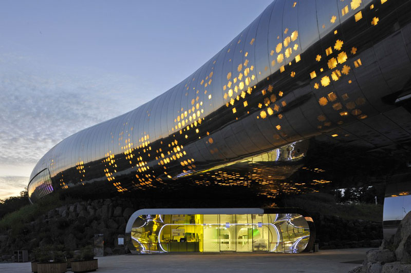 Exterior design of the Jeongok Museum South Korea Prehistory Museum by X-TU Architects