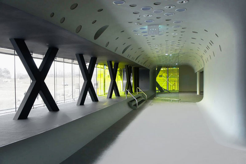 White and green Interior design of the Jeongok Museum South Korea Prehistory Museum by X-TU Architects