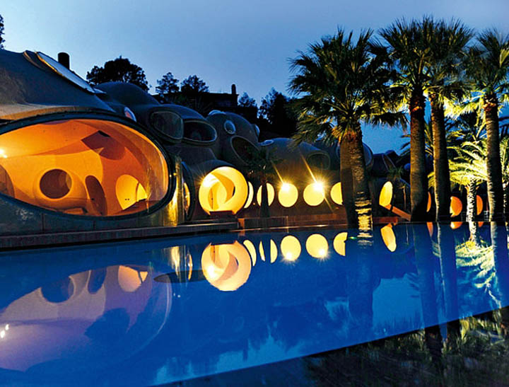 Architecture and swimming pool at the palais bulles, palace of bubbles Pierre Cardin house by antti lovag in Cannes