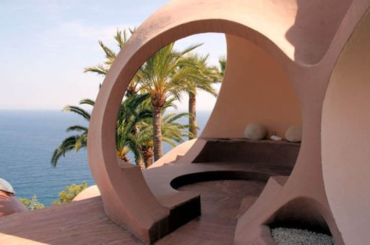 Ocean view at the palais bulles, palace of bubbles Pierre Cardin house by antti lovag in Cannes