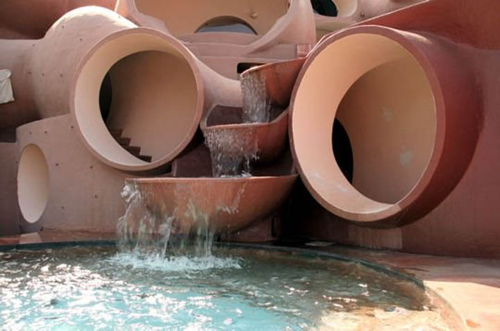 Waterfall at the palais bulles, palace of bubbles Pierre Cardin house by antti lovag in Cannes