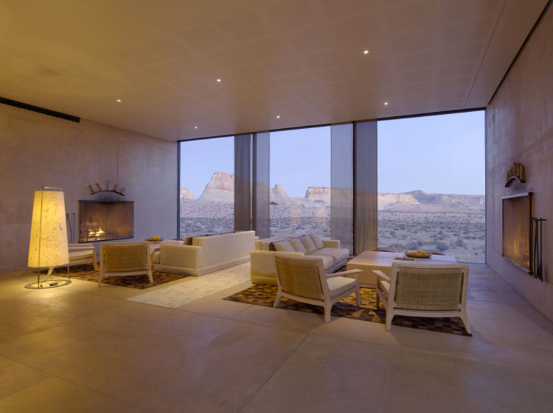 Lounge area of the Amangiri Luxury Hotel Resort in Canyon Point Utah