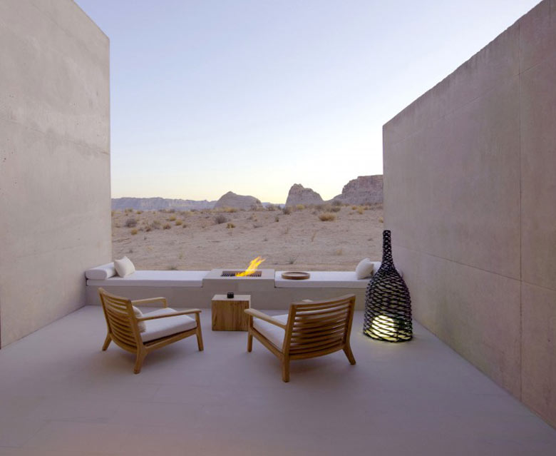 Patio of the Amangiri Luxury Hotel Resort in Canyon Point Utah