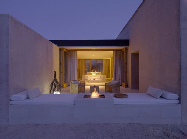 Exterior in the evening of the Amangiri Luxury Hotel Resort in Canyon Point Utah