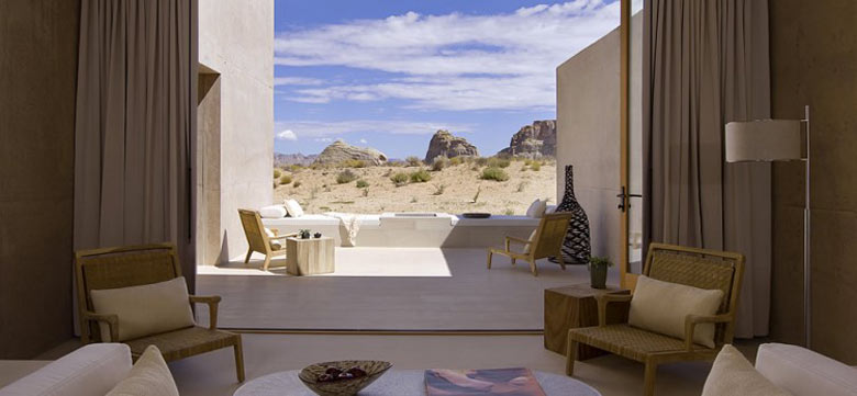 Lounge area with a view of the exterior at the Amangiri Luxury Hotel Resort in Canyon Point Utah