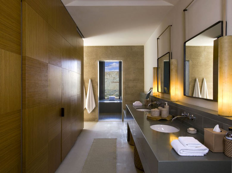 Bathroom design of the Amangiri Luxury Hotel Resort in Canyon Point Utah