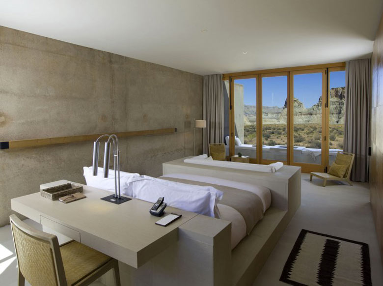 Bedroom at the Amangiri Luxury Hotel Resort in Canyon Point Utah