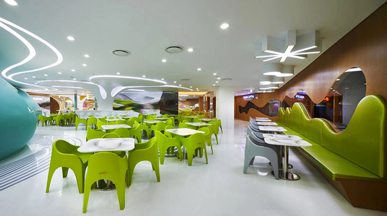 White floors and ceiling at the Amoje Food Capital in Lotte Shopping Mall by Karim Rashid
