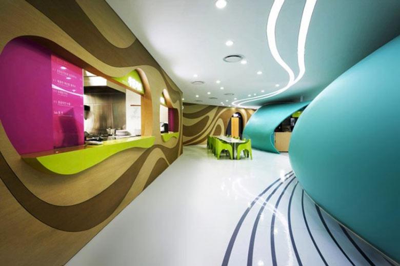 Interior design at the Amoje Food Capital in Lotte Shopping Mall by Karim Rashid