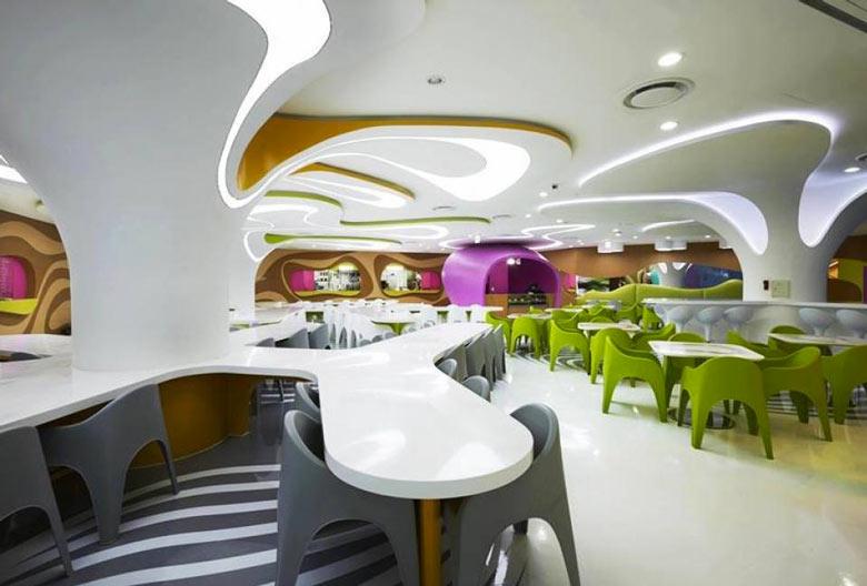 Interior decor of the Amoje Food Capital in Lotte Shopping Mall by Karim Rashid