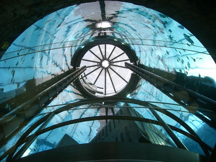 Elevator shaft of the Aquadom Aquarium at the Raddison Blu in Berlin