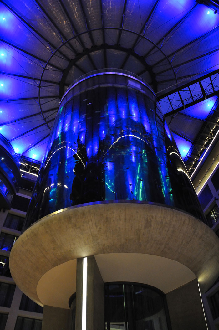 View from the ground of the Aquadom Aquarium at the Raddison Blu in Berlin