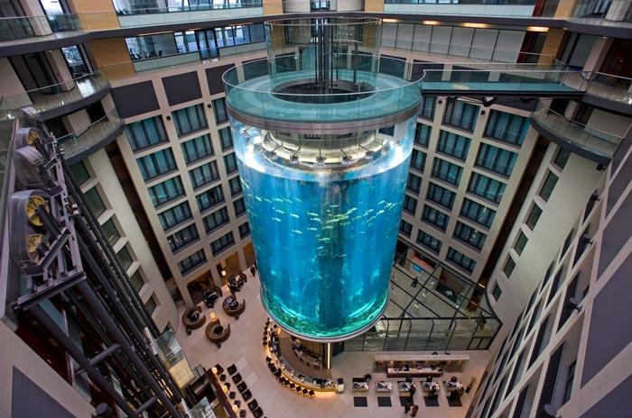 Aerial view of the Aquadom Aquarium at the Raddison Blu in Berlin