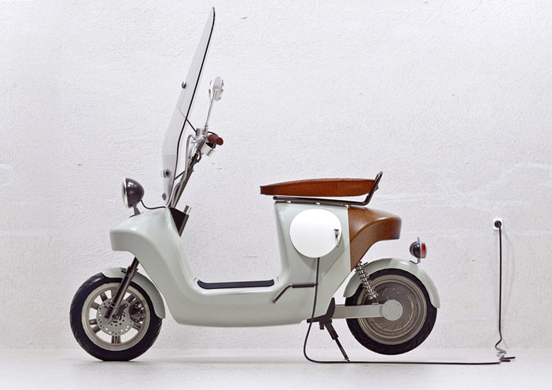 White Be.e Hemp Electric Scooter by Vaneko