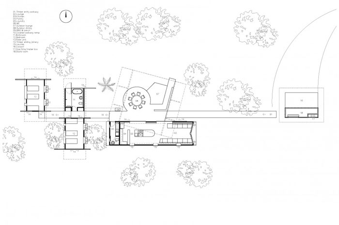 Floor plans of the Drew House by Simon Hills of Anthill Constructions