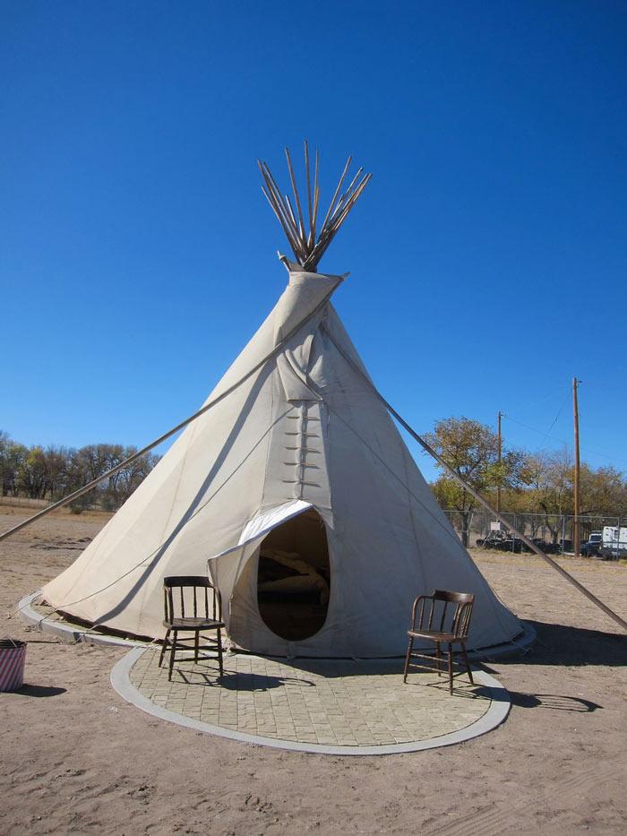 Tipi tent at El Cosmico in Marfa, Texas