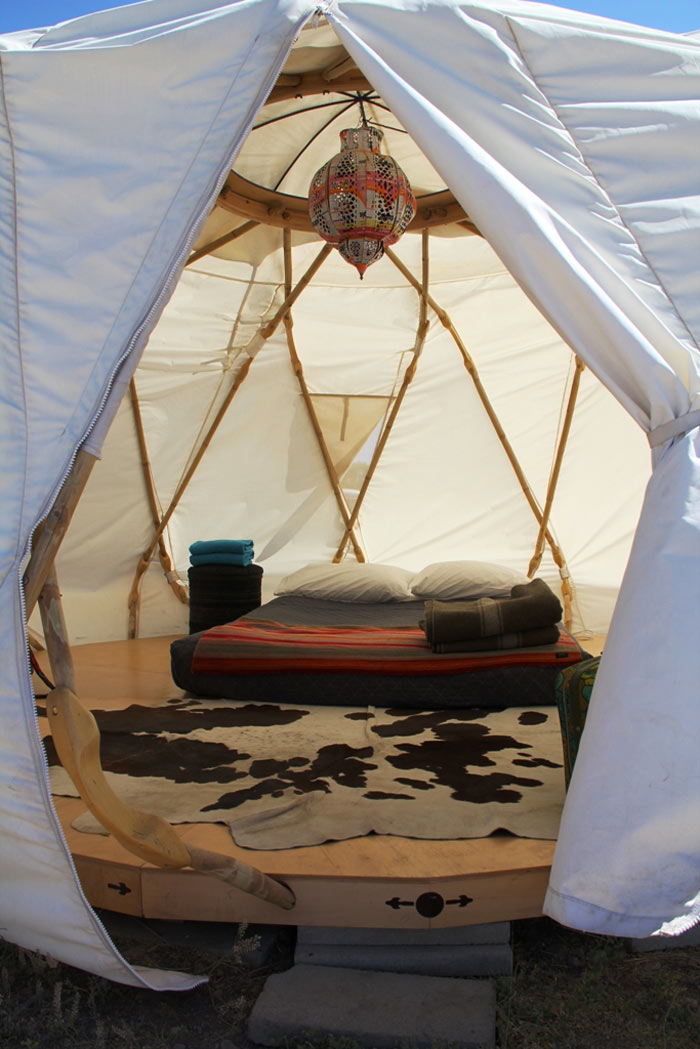 Inside a tent at El Cosmico in Marfa, Texas