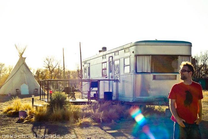 Trailer house accomodation at El Cosmico in Marfa, Texas
