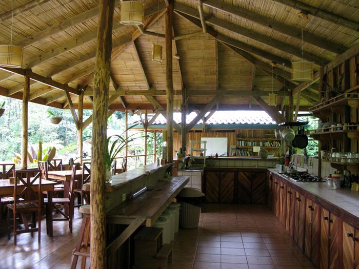 Dining area and lounge at the Finca Bellavista Treehouse Community in Costa Rica