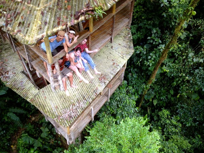 Aerial view of a treehouse at the Finca Bellavista Treehouse Community in Costa Rica