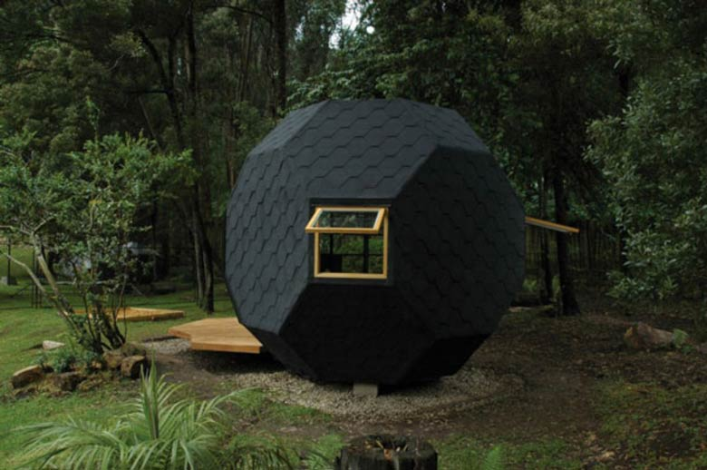Exterior view of the Habitable Polyhedron Garden Office by Manuel Villa