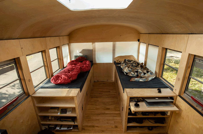 Sleeping area of Hank Bought a Bus - A School bus Converted into a Mobile Home