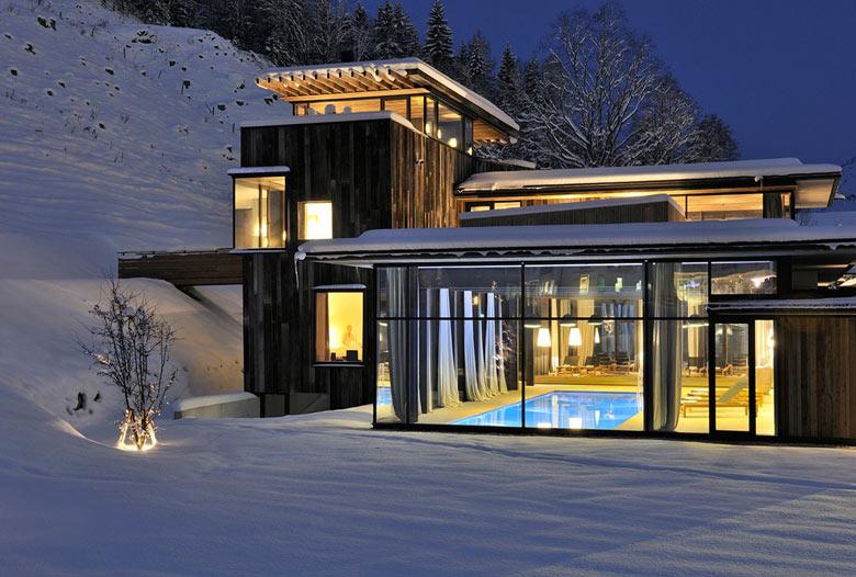 Swimming pool at the Hotel Wiesergut in Hinterglemm Austria by Gogl Architekten