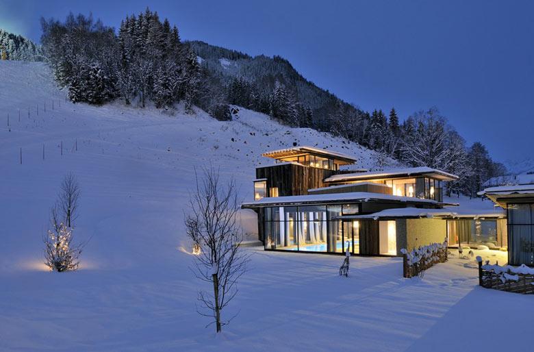 View of the exterior at the Hotel Wiesergut in Hinterglemm Austria by Gogl Architekten