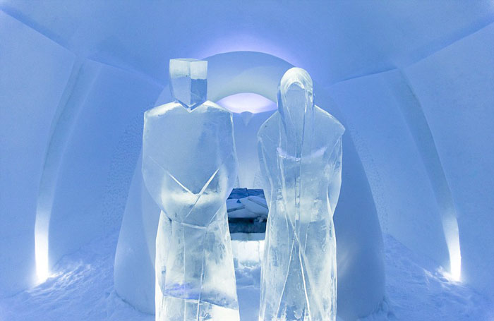 Ice sculpture at the Icehotel An Ice Hotel in Jukkasjarvi Sweden