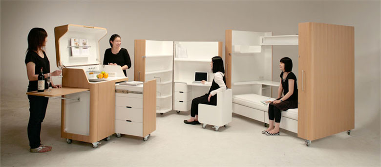Kenchikukagu foldable rooms by toshihiko suzuki Mobiliario para espacios reducidos