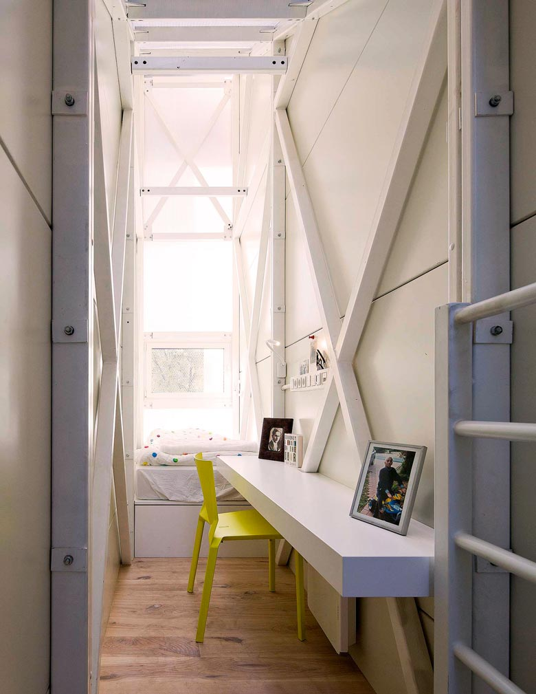 Interior design of the Keret House the World's Narrowest Home in Warsaw by Jakub Szczesny