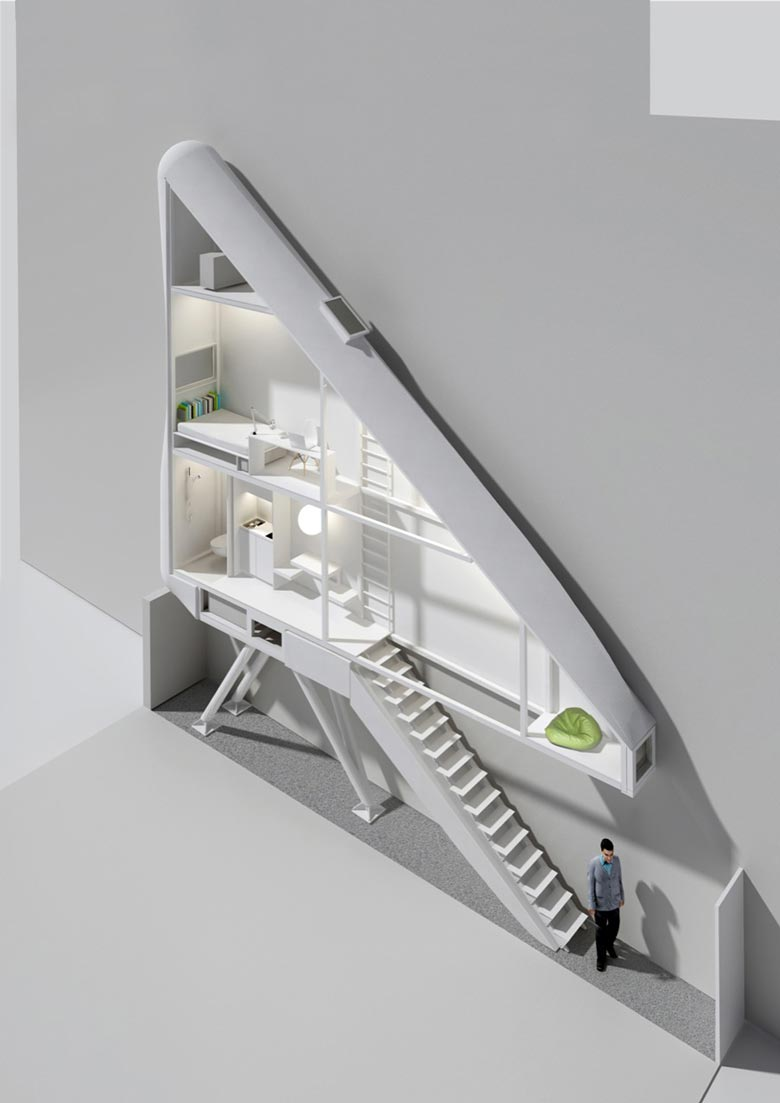 Floor plan of the Keret House the World's Narrowest Home in Warsaw by Jakub Szczesny