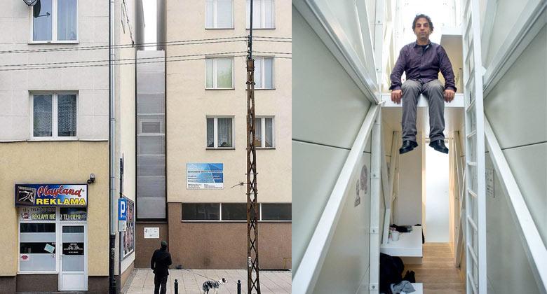 Keret House the World's Narrowest Home in Warsaw by Jakub Szczesny on Jebiga
