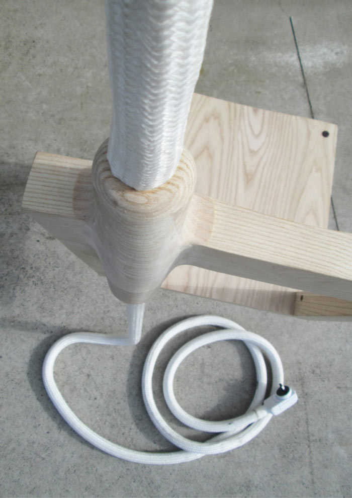 Connection where the lamp and chair connect on the Lambent Chair by Glen Lewis Steele