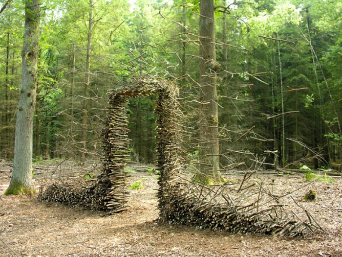Suspended branches of the Land Art Installations by Cornelia Konrads